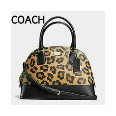 """HPCOACH OCELOT MINI CORA DOME SATCHEL COACH OCELOT MINI CORA DOME SATCHEL in Neutral Leather inner zip pocket zip top closure black fabric lining Measures 10""""x7""""x3.5"""" Dual Rolled Handles with 3.5"""" drop? with Detachable longer strap 22"""" drop for shoulder wear or crossbody. 100% Authentic Brand new in original packaging. Coach Bags Satchels"""