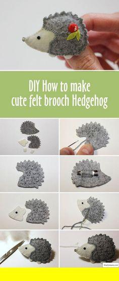 How to make cute felt brooch hedgehog Wie man süße Filzbrosche Igel macht # How-to Felt Crafts Diy, Felt Diy, Craft Gifts, Fabric Crafts, Sewing Crafts, Sewing Projects, Craft Projects, Sewing Diy, Sewing Tutorials