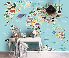 (1) 3D Color Cartoon Animal World Map Wall Mural Wallpaper 3 – Jessartdecoration Kids World Map, World Map Wall, Map Wallpaper, Wallpaper Ideas, Wall Murals, Cartoon, 3d, Animals, Color
