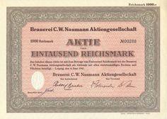 Brauerei C.W. Naumann Aktie 1000 RM 1941