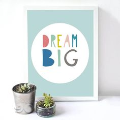 Cartoon Dream Big Quote Canvas Art Print Poster, Nursery Wall Pictures for Child home Decoration, Wall Decor FA14-2
