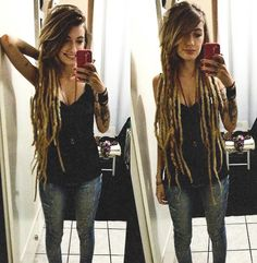 I cannot wait for my dread babies to grow grow grow! White Girl Dreads, Dreads Girl, Blonde Dreadlocks, Long Dreads, Dreadlock Styles, Dreads Styles, Dreadlock Hairstyles, Cool Hairstyles, Partial Dreads