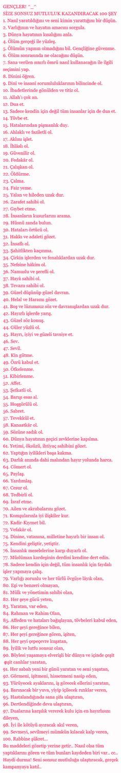 GENÇKEN YAPILACAK 100 ŞEY :)