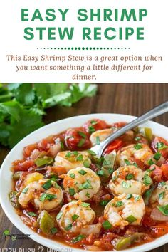 Easy shrimp stew recipe in a rich tomato sauce (New Orleans Style Etouffee) Seafood Soup Recipes, Calamari Recipes, Lobster Recipes, Vegetarian Recipes Dinner, Shrimp Recipes, Dinner Recipes, Curry Recipes, Shrimp Stew, Scallop Recipes