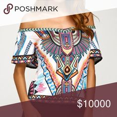 🆕Arrival Off the Shoulder Tribal Top Super cute and unique top available in sizes small medium large and x-large. See pictures for sizing information. Price is firm unless bundled. ❌trades Tops Blouses