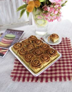 Miniature Cinnamon Rolls in Baking Pan   -  1:6 Scale Polymer Clay Miniature Food for Fashion Dolls & Action Figures by OneSixthSense on Etsy https://www.etsy.com/listing/217347365/miniature-cinnamon-rolls-in-baking-pan
