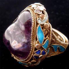 Huge Amethyst Chinese Export Gilded Silver Cloisonne Enamel Estate Ring Vintage | eBay