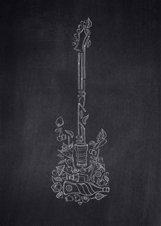 Interesting composition of objects Guitar Sketch, Guitar Drawing, Wall Drawing, Guitar Art, Chalkboard Drawings, Chalk Drawings, Chalkboard Art, Music Illustration, Illustration Sketches