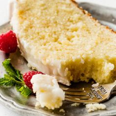 Luscious and moist lemon pound cake with sweet lemon icing. Simple and satisfying, this tastes incredible with fresh berries! Lemon Blueberry Layer Cake Recipe, Moist Lemon Pound Cake, Lemon Layer Cakes, Layer Cake Recipes, Dessert Recipes, Desserts, Pound Cakes, Blueberry Cake, Cream Cheese Buttercream