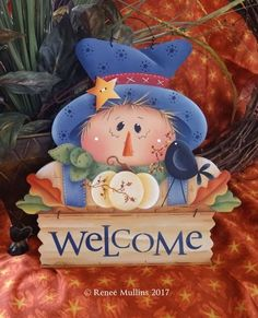 #713 Scarecrow Welcome Halloween Season, Fall Halloween, Halloween Crafts, Fall Patterns, Halloween Patterns, Country Paintings, Fall Paintings, Christmas Wooden Signs, Tole Painting Patterns