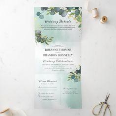 Tri Fold Wedding Invitations, Affordable Wedding Invitations, Diy Invitations, Invite, Letter Folding, Botanical Wedding, Wedding Details, Wedding Ideas, Wedding Table