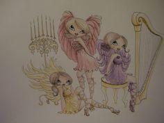 Angels, cute big eyed girls, marker paper colored sketch, fantasy, art by MJ