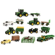 Farm Toy Playset features vehicles with die cast chassis, realistic moving parts and rear hitches for implement connectivity. Tractors, trucks, Gators, animals and accessories allow a child to create