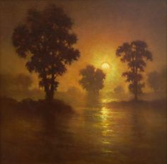 Moonrise over Water by Gerard Erley Oil ~ 24 x 24