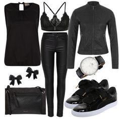 Freizeit Outfits: SchwarzeSchleife bei FrauenOutfits.de causal, sportlich, puma Sneaker, bralette, bikerjacke, damenoutfit, outfit frauen, frauenoutfits