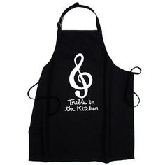 "Just bought this apron! All my musician friends will appreciate this! ""Treble in the Kitchen"""