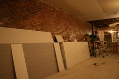 The shims are in place and the sheet Rock is being hung on the the internal walls today at Boca Bistro.