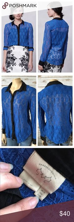 """Vanessa Virginia Gemma Lace Button Front Blouse 6 Tag Size - 6 Bust Measured Across - 20.5"""" Length from Shoulder to Hem - 23"""" Great used condition. Anthropologie Tops Button Down Shirts"""