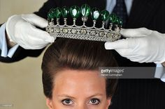 A Chaumet emerald and diamond tiara, from circa 1900, the most important to be auctioned in 30 years, formerly in the collection of Princess Katharina Henckel von Donnersmarck and also believed to have been in the collection of Empress Eugenie, weighing in total 500 carats, valued at 5-10 million USD, is seen during the Sotheby's magnificent noble jewels and important watches auction preview held at Hotel Beau-Rivage on May 11, 2011 in Geneva, Switzerland. The watch and jewels auctions which…