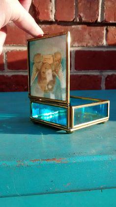 Brass glass box blue glass box with foil art angel geometric mirrored jewelry trinket box blue glass box brass square box mirrored bottom by HappyVintageStudio on Etsy