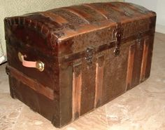 Examples of refinished and restored antique steamer trunks from our customers - Brettuns Village supplied the parts and hardware Antique Trunks, Old Trunks, Vintage Trunks, Antique Chest, Trunks And Chests, Antique Metal, Metal Chest, Old Chest, Steamer Trunk