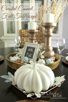 Coastal Casual Fall Tablescape - use what you have, add a few thrifty finds and a little paint for FALL decor on a budget!!