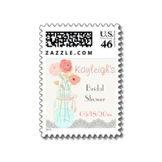 Rustic Posh in Coral Adorable custom postage for all of your invitations for any spring or summer luncheon, bridal shower, baby shower, get together. Trimmed across the bottom with delicate lace and accented with a hand drawn and watercolored mason jar filled with beautiful flower blooms in shades of coral, orange, yellow with touches of green and brown. Personalize with name, type of even and date.