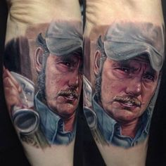Quint from Jaws Arm Tattoos