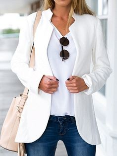Shop White Stand Collar Long Sleeve Slim Blazer from choies.com .Free shipping Worldwide.$23.99