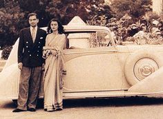 Maharani Gayatri Devi of Jaipur beside her ride. The British Architecture had deep influence on the Indian nobles as well. Many Indian nobles' palaces and mansions in the were British Colonialism influenced.