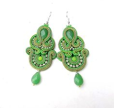 Dangle Earrings Soutache Earrings Green Embroidered Jewelry on Etsy, $45.75 AUD