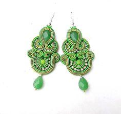 Dangle Earrings Soutache Earrings Green Embroidered Jewelry on Etsy, $45.75 AUD