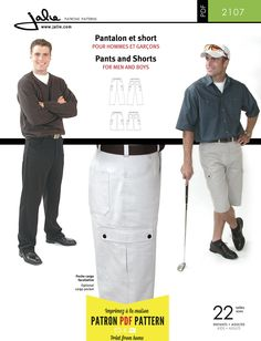 Jalie 2107 Men's and boys' Pants and Shorts PDF Pattern
