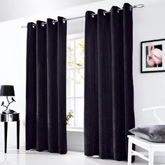 """Tony's Textiles Velvet Velour Ring Top Eyelet Fully Lined Pair of Ready Made Curtains 58"""" x 72"""" (147 x 168cm) Black"""