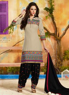 Keep ahead in trend with this beige cotton   designer salwar suit. Beautified with embroidered and lace work all synchronized very well with the trend and style and design of the attire. Comes with ma...