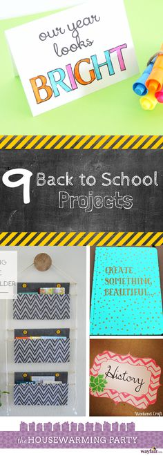 9 Back to School Projects. DIY projects, activities, crafts, teachers gifts.