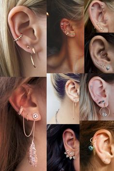241 Best Multiple Earrings Images Ear Piercings