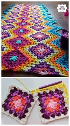 Zig Zag Crochet Pattern, Crochet Square Patterns, Crochet Blanket Patterns, Crochet Designs, Crochet Blankets, Crochet Afghans, Crochet Granny Square Afghan, Granny Squares, Free Crochet