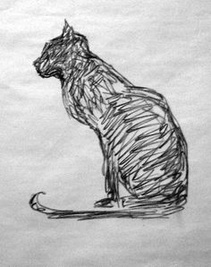 an ink sketch of a cat...
