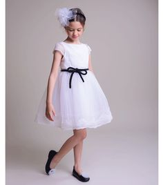 Innocence White Dress with Black Velvet Belt Organza Dress, Tulle, Velvet Bow Tie, Sleeve Designs, Black Velvet, White Dress, Flower Girl Dresses, Summer Dresses, Wedding Dresses
