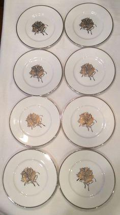 "NWT Set of 8 Mikasa Fine China Gold Silver Cameo Holly Bell 8.5"" Plates HK324 #Mikasa"
