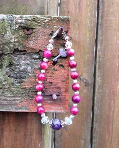 Dyed Abalone Shell and Amethyst Beaded Bracelet with Key Charm on Etsy, $19.99
