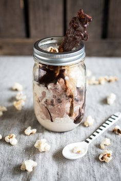 chunky caramel sundae with caramel popcorn and chocOlate covered bacon