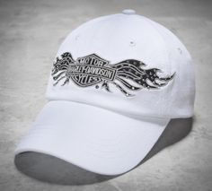 Re-invent helmet-head with a stylish baseball cap with true Harley-Davidson edge. | Harley-Davidson Women's Studded Wings Cap