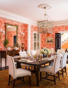 Coral Oushak Rug In The Dining Room   Connecticut House By Christina Murphy