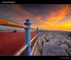 """Sunset Railings"" Morecambe Bay, England 