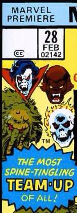 Marvel Premiere corner box art - Legion of Monsters (Morbius the Living Vampire, Werewolf by Night, Man-Thing and Ghost Rider)