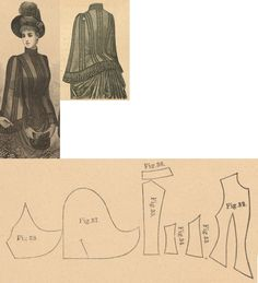 Der Bazar 1888: Dark blue cloth wintertime mantle with black braiding (with wadding and atlas lining); 32. front part, 33. and 34. side gores, 35. back part in half size, 36. collar in half size, 37. and 38. pelerine-sleeve parts