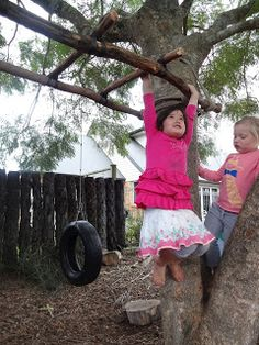 Mairtown Kindergarten: Hanging Bars. Great post about making monkey bars and how this kind of play supports both learning and the children's ability to assess and manage their own risk-taking. Originally Pinned by Alec from http://childsplaymusic.com.au/