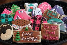 Glamping Party, Glamping Cookies, Camping Sugar Cookies, Custom Sugar Cookies, Girl Scout, Decorated Cookies, Birthday Favors